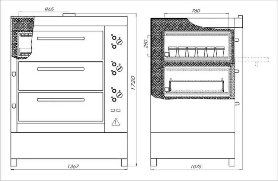 Печь хлебопекарная ХПЭ 750/3 С схема