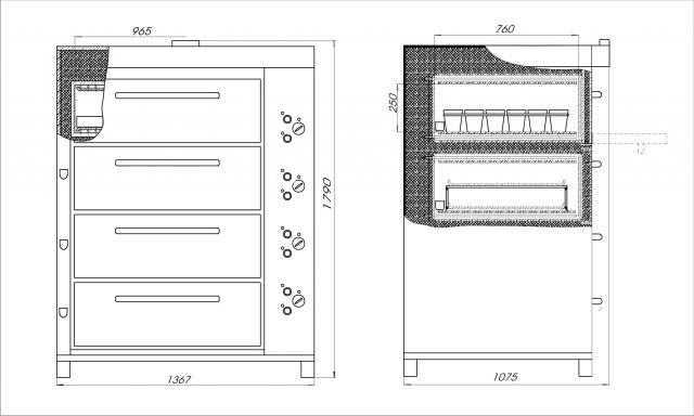 Печь хлебопекарная ХПЭ 750/4 С схема