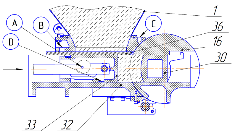 Тестоделитель Восход ТД-2М Схема нагнетания теста в мерные камеры