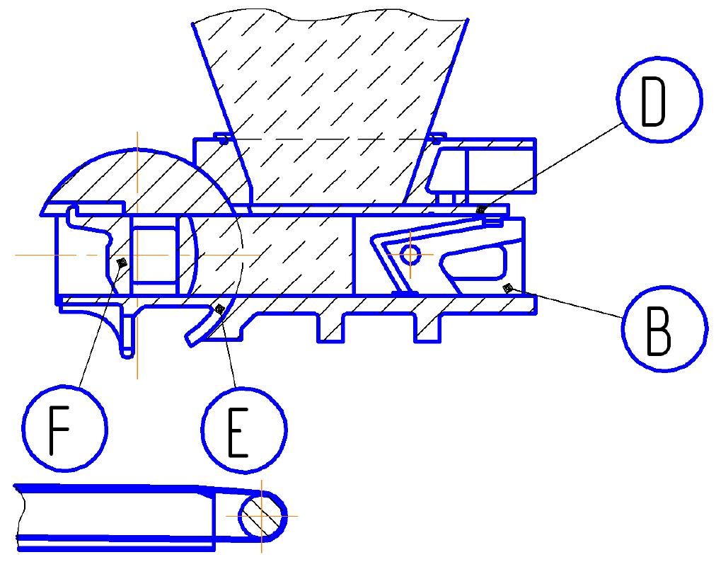 Тестоделитель Восход ТД-4 Схема нагнетания теста в мерную камеру
