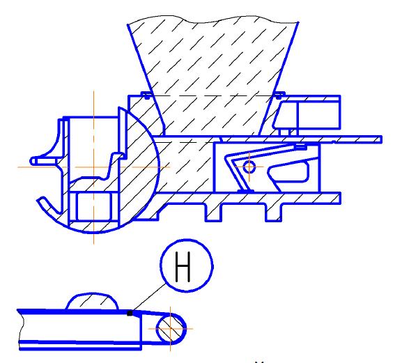 Тестоделитель Восход ТД-4 Схема выгрузки тестовой заготовки на транспортер