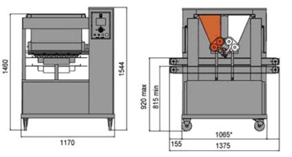 Тестоотсадочная машина Polin Multidrop Twiny габариты